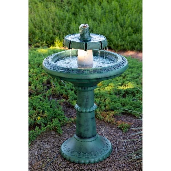 Dark Verdigris Green Ornate Pedestal Light