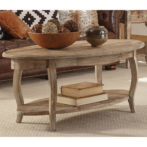 alaterre rustic reclaimed wood oval coffee table - free shipping