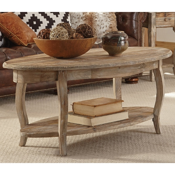 Wood Oval Coffee Table Made In China: Shop Alaterre Rustic Reclaimed Wood Oval Coffee Table