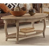 Alaterre Rustic Reclaimed Wood Oval Coffee Table