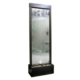 Alpine Mirror Waterfall Fountain with Stones and Light, Silver, 72 Inch Tall