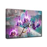 Ready2HangArt 'Painted Petals XIX' Canvas Wall Art - Purple/TEAL
