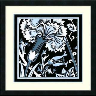 Framed Art Print 'Blue & White Floral Motif I' by Vision Studio 22 x 22-inch