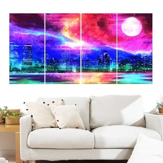 Full Moon in the City' 4-piece Gallery-wrapped Canvas Art