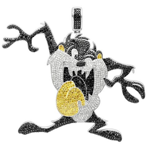 Luxurman 10k White Gold 13ct TDW Black, Yellow, White Diamond Taz Tasmanian Devil Pendant (H-I, SI2-I1)