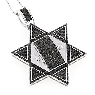 Luxurman 10k Gold Star 3 1/3ct TDW Black Diamond Star of David Pendant