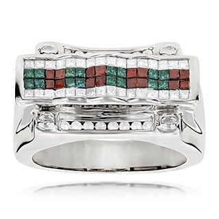 Luxurman 14k White Gold Men's 2ct White, Blue, and Red Diamond Ring (H-I, SI1-SI2)
