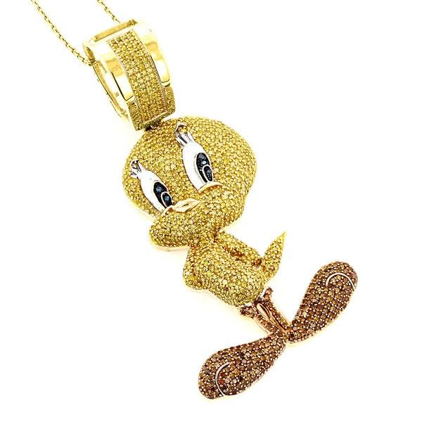 Luxurman 10k Yellow Gold 4 1 10ct Multi colored Diamond Tweety