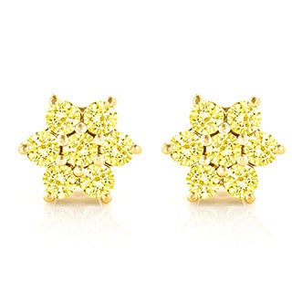 Luxurman 14k White Gold 3ct TDW Yellow Diamond Stud Earrings (SI1-SI2)