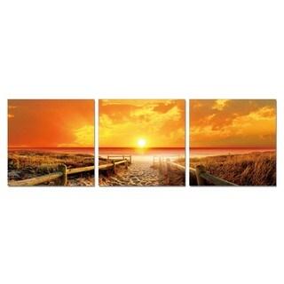 Porthos Home PL Home 'Seaside Sunset' 3-piece Split-canvas Print