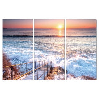 Porthos Home PL Home 'Crashing Waves' 3-piece Split-canvas Print