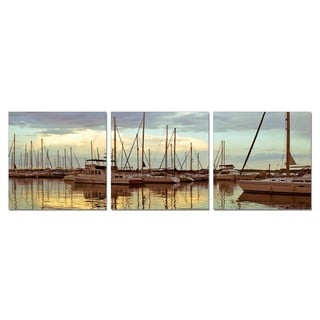 Porthos Home PL Home 'Fleet of Sailboats' 3-piece Split-canvas Print