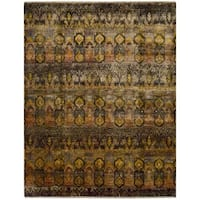 Nourison Sari Silk Traditional Multicolor Rug - Grey/Yellow - 9'9 x 13'9