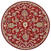 Hand Tufted Salvador Red Wool Round Rug (8'x8') - 8' x 8'