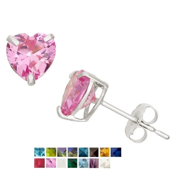 Gioelli 10k White Gold 1 1/2ct TGW 6-mm Heart-cut Birthstone Stud Earrings. Opens flyout.
