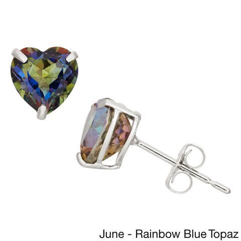 Gioelli 10k White Gold 1 1/2ct TGW 6-mm Heart-cut Birthstone Stud Earrings