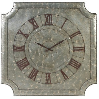 A and B Home 'English Town' Aged Aluminum Roman Wall Clock