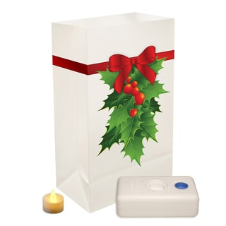 Holly Battery Operated Luminaria Kit (Set of 12)