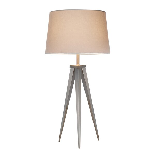 Producer Satin Steel Tripod Style 1-light Table Lamp