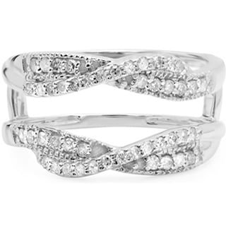 Elora 14k White Gold 2/5ct TDW Round-cut Diamond Wedding Band Guard Ring (H-I, I1-I2)
