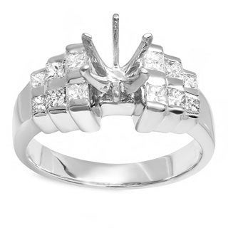 14k White Gold 0.5ct TDW Princess Diamond Bridal Ring with No Center Stone (H-I, I1-I2)