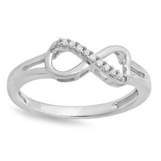 Elora Sterling Silver 1/2ct TDW Round Diamond Heart Infinity Ring (I-J, I2-I3)