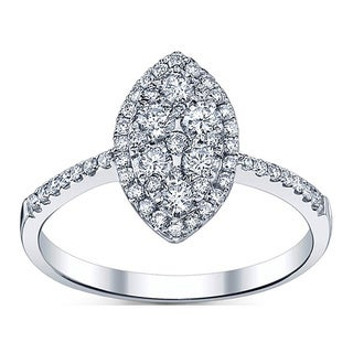 18k White Gold 4/5ct TDW Marquise Shape Diamond Engagement Ring (G-H, SI1-SI2)