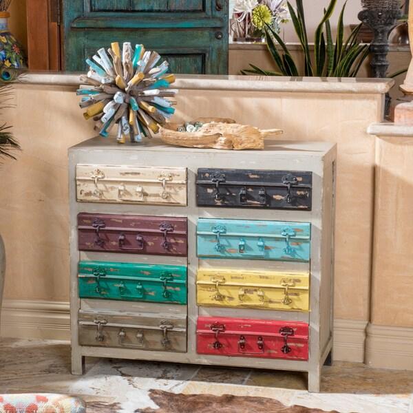 Christopher Knight Home U0026#x27;Mogau0026#x27; Distressed Grey/ Multicolored  Cabinet
