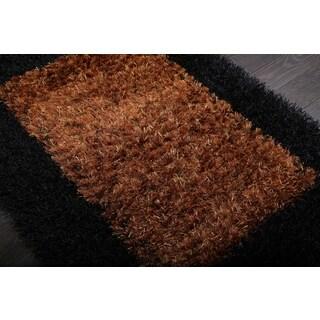 Handmade Brown/ Black Shag Rug (4' x 6')
