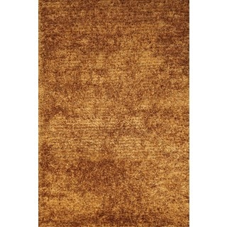 Soothing and Gentle Gold Shag Rug Rug (6'7 x 9'9)