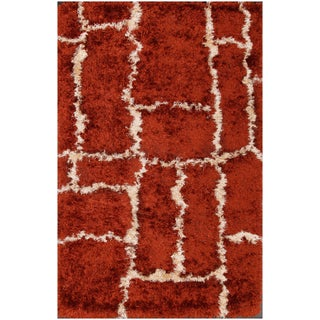 Hand-tufted Brown Shag Rug (5' x 8')