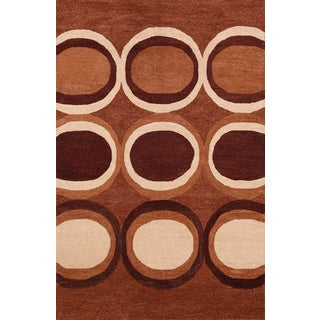 Hand-tufted Brown Circles Wool Rug (5' x 8')