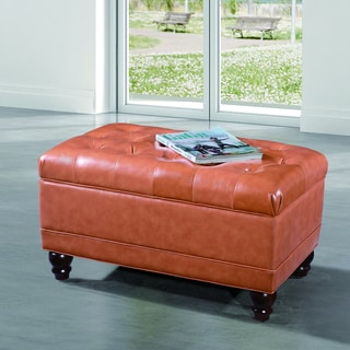 Saddle Brown Button Tufted Bench Ottoman