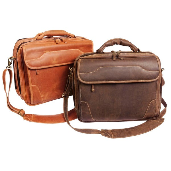 Sahara 15-Inch Distressed Leather Laptop Computer Briefcase