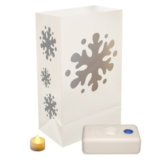 Battery Operated Snowflake Luminaria Kit (Set of 12)