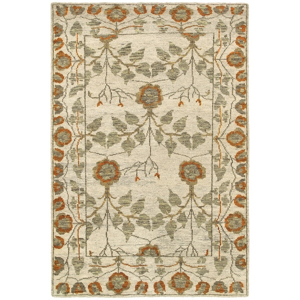 "LR Home Contemporary Oushak Natural / Rust Rectangle ( 5'3 x 7'5 ) - 5'6"" x 8'6""/Surplus"