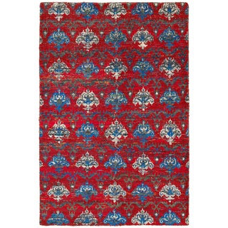 Contemporary Nisha Red Multi Rectangle Rug (5'3 x 7'5)