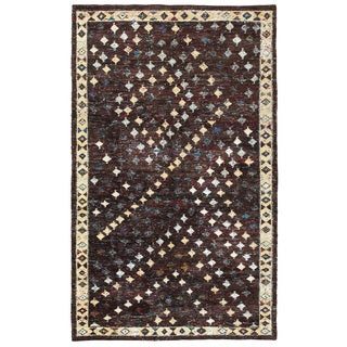 Contemporary Nisha Brown Rectangle Rug (5'3 x 7'5)