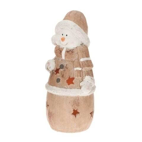 CandleTEK Rustic Ceramic Luminary Flameless Candle Snowman