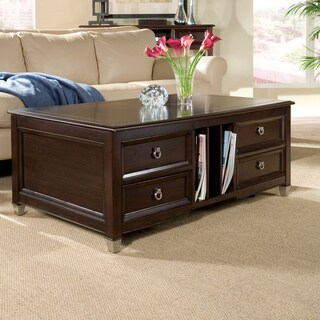 Darien Transitional Burnt Umber Rectangular Lift Top Coffee Table with Casters