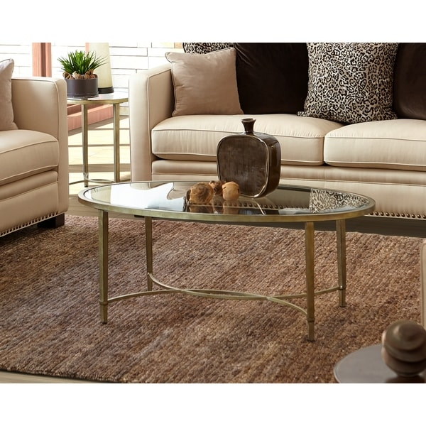 Antique Silver Glass Coffee Table: Gracewood Hollow Derada Contemporary Gold Tinted Antique