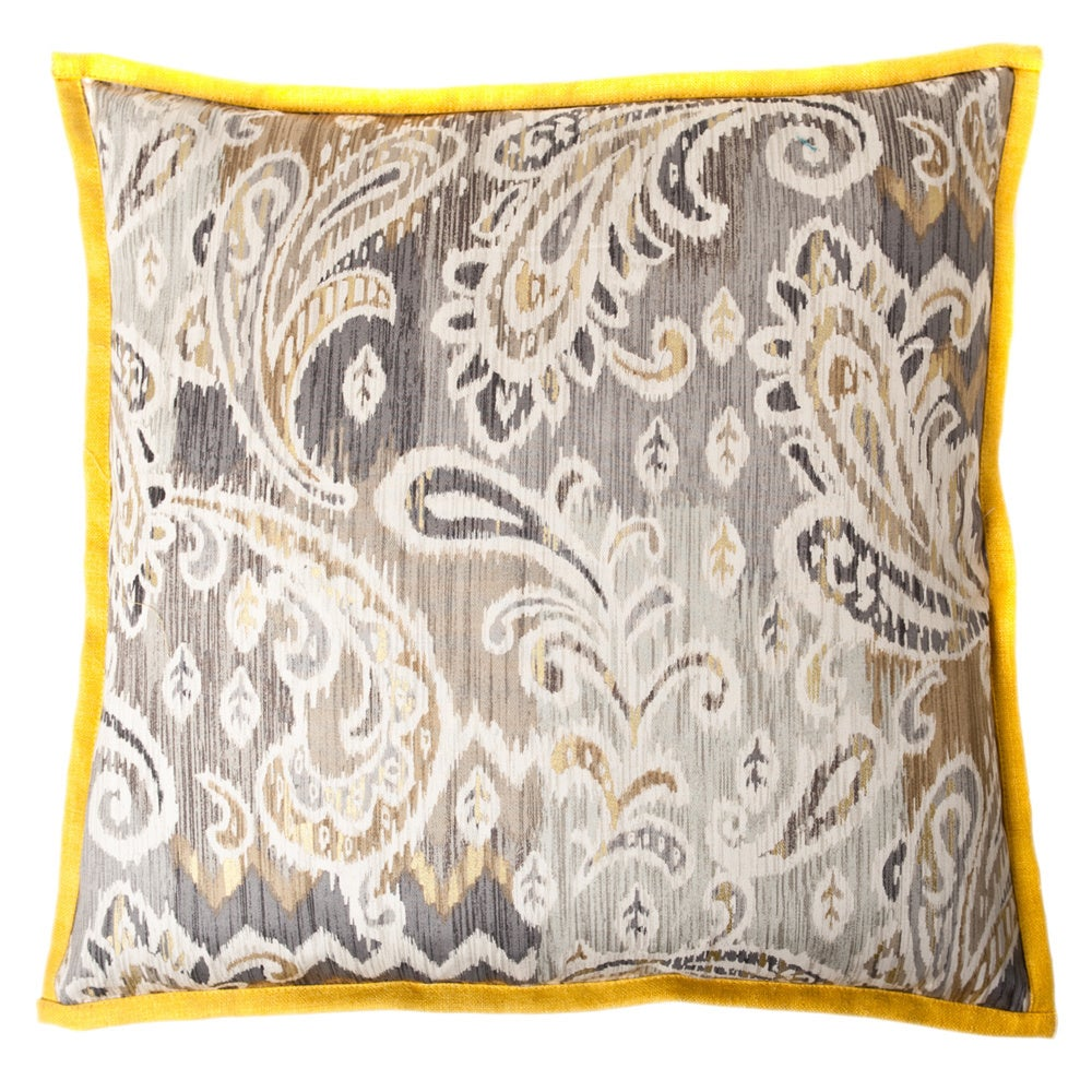 Passion Taupe Yellow Square Decorative Pillow (PASSION TAUPE YELLOW)