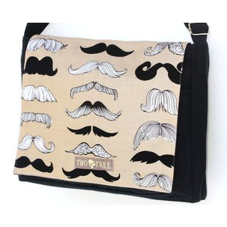Handmade Medium Black Brown Mustache Messenger Bag