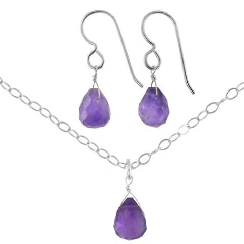 Amethyst Gemstone Handmade Sterling Silver Earrings and Necklace Set
