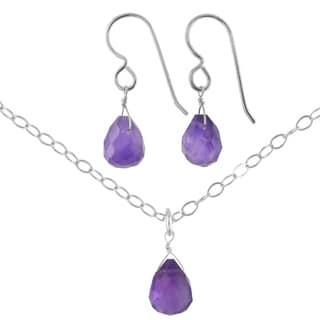 Ashanti Sterling Silver Amethyst Gemstone Handmade Earrings and Necklace Set (Sri Lanka)