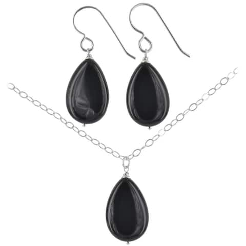 Black Onyx Gemstone Handmade Sterling Silver Earrings and Necklace Set