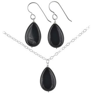 Ashanti Sterling Silver Black Onyx Gemstone Handmade Earrings and Necklace Set (Sri Lanka)