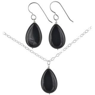 Ashanti Sterling Silver Black Onyx Gemstone Handmade Earrings and Necklace Set (Sri Lanka)