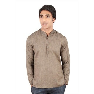 Men's Short Fitted Kurta Mandarin Collar Tunic
