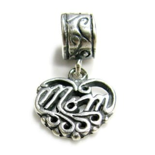 Queenberry Sterling Silver Love Mom Dangle Heart European Bead Charm
